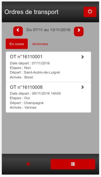 Application mobile Ordres de transport logiciel Transport Cargo-TMS