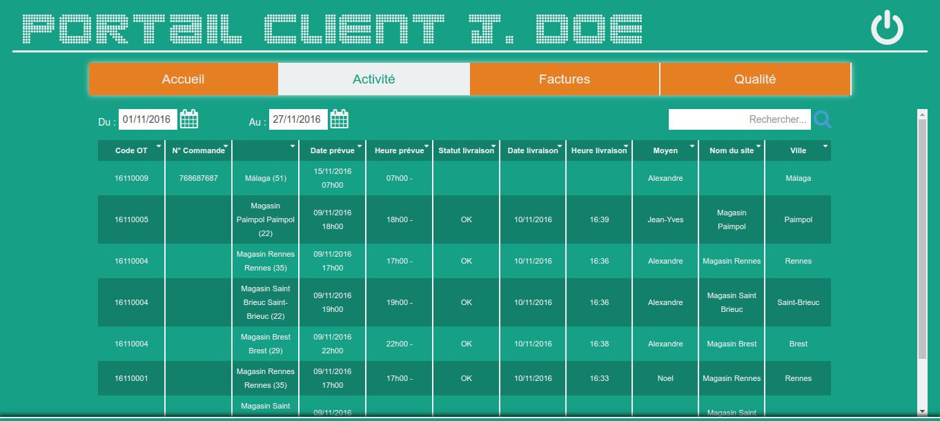 Portail client logiciel transport Cargo-TMS Activités